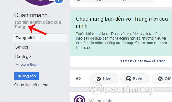 Đặt tên cho Page trên Facebook PC