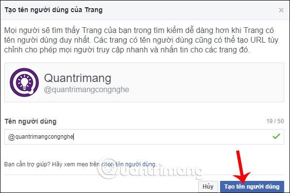 Tạo tên cho Page trên Facebook PC